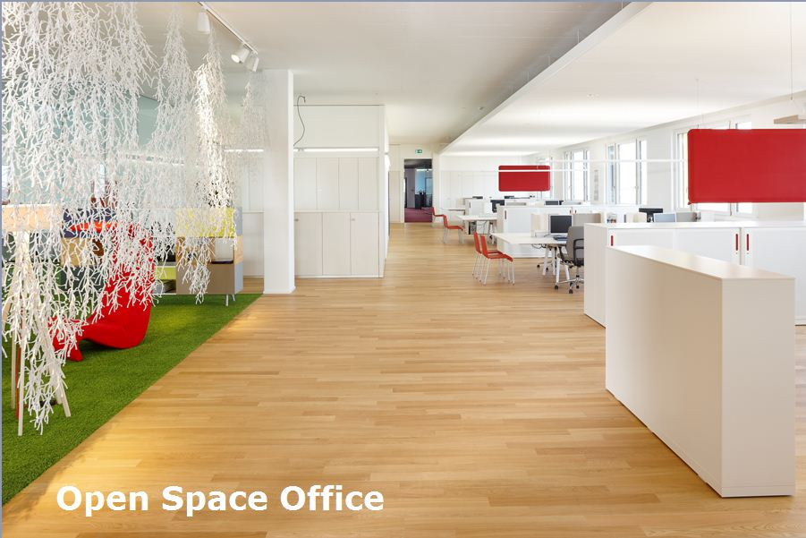 Perfect office space design tips mac quick tables in ms for Open space office